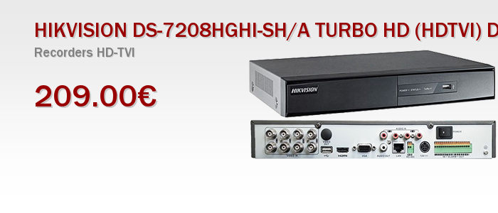 HIKVISION DS-7208HGHI-SH/A TURBO HD (HDTVI) DVR 8 καναλιών με Alarm